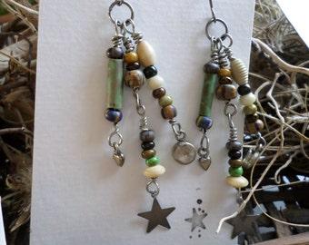 earrings, stars, charms, dangle