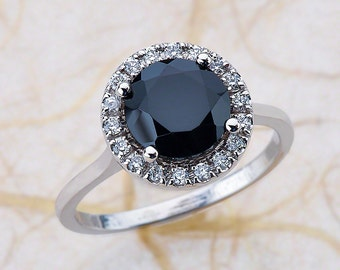 Black Spinel Gemstone Halo Diamond Engagement Ring in 14k White Gold 8x8 MM