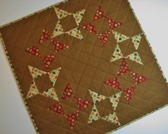 """Autumn Quilted Table Topper, Square Quilted Table Mat, Friendship Star Candle Mat, Reversible Table Topper, 23""""x23"""", Quiltsy Handmade"""