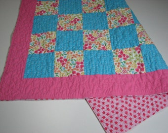 """Baby Girl Quilt, Flannel Patchwork Quilt, Pink and Blue Floral Stroller Quilt, 35"""" x 35"""", Quiltsy Handmade"""