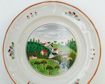 Vintage Country Villiage Large Plate