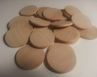 """1-1/2"""" Wood Discs -Set of 25- Coins Circles Unfinished - Wood Rounds - 1/8"""" Thick - Crafts  - Game Pieces"""
