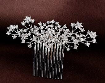 Floal  Hair Comb, Crystal rose hair comb, Rhinestone hair comb,Silver, Side hair comb, Petite hair comb