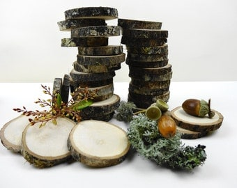 "2.2""-3"" Wood Slices, Tree Slices, Oak Wood Slices, Bark Wood Slices, Wood Circles, Wedding Decor, Woodworking, E42, Set of 20"