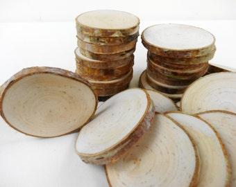 """2""""-2.5"""" (20) Birch Wood Slices, Birch Tree Slices, Birch Wood, Circles, Unfinished Wood Slices, Wedding Decor, Set of 20 (B94)"""