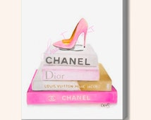 Canvas Print 11x14, 12x12, 12x18, 16x20 - Pink Designer Inspired Painting of Chanel, Louis Vuitton, Dior Book and Louboutin Heel