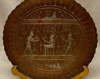 "Very Nice Egyptian Hieroglyphic Engraved Decor Copper Tray 13"" Diam. ANTIQUE"