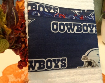 Dallas Cowboys Kitchen Towel football theme embellished Navy, Grey and white