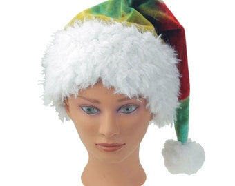 Tie Dye Santa Hat, Organic Bamboo Velour Holiday Hat, Winter Sleeping Cap, Trippy Santa Hat, Psychedelic Christmas Hat