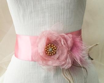 sash belt, Dusky pink  sash belt,  bridal sash belt, flower sash belt, pink flower sash, flower sash, pink flower belt