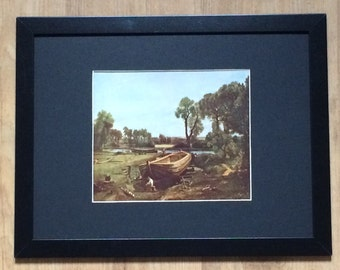 """Framed and Mounted Boatbuilding Near Flatford Mill Print by John Constable 16"""" x 12"""""""