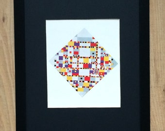"Framed and Mounted Victory Boogie Woogie Print by Piet Mondrian 16"" x 12"""