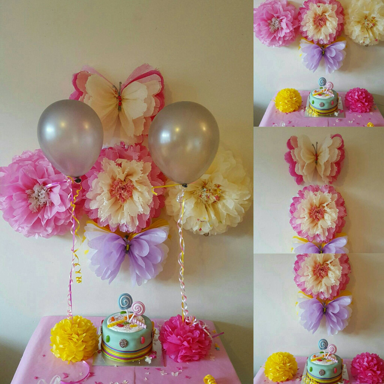 Wedding party baby shower christening balloon weightstable - Decoracion con pompones ...