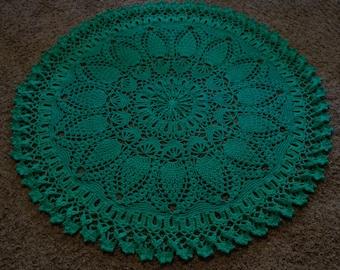 RUG, DOILY RUG, Vintage design, lacy rug, crochet rug, green rug round rug, oversized doily