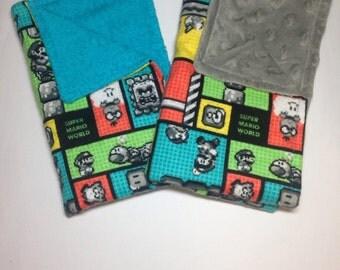 Mario and Luigi Burp Cloths (set of 2) Perfect for a gamer!