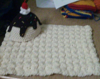 textured cream blanket