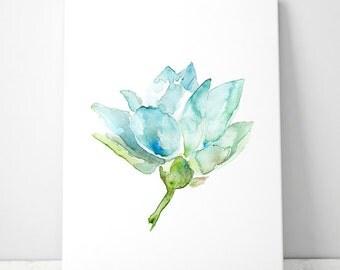 Lotus Flower Watercolor Painting - Lotus  Art - Giclee Print - Blue Green Decor - Wall Decor Buddhism Painting - living room illustration