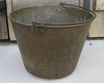 Antique Brass Bucket, Antique Brass Cooking Kettle, Brass Farm Bucket With Handle Rounded Bottom