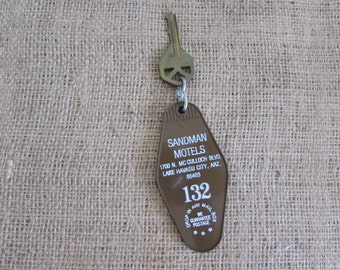 Sandman Motel Key and Fob, Vintage Sandman Motel Key and Fob, Vintage Hotel Key and Fob, Sandman Motel Lake Havasu Key and Fob, Vintage Keys