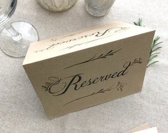 Reserved Sign - Reserved Wedding Table Sign - Rustic Wedding Signs - Folded Kraft Table Sign