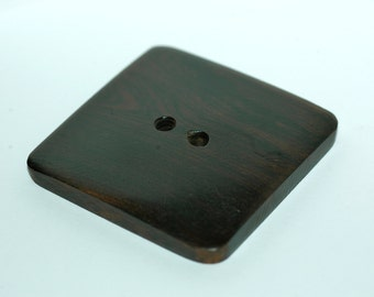 Dark Wood Big Square Button. Size 2""