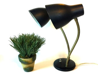 Mid-Century Black Metal Desk Lamp, Industrial Style Double Neck Black Metal Lamp