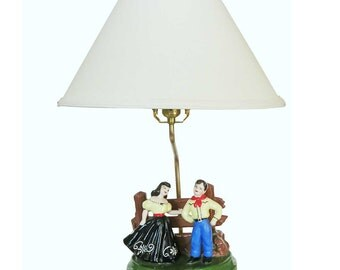 1950s Ceramic Cowboy& Cowgirl Western Lamp