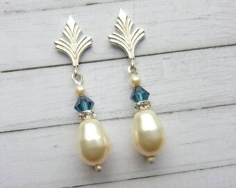 Pearl Sterling Silver Art Deco Style Stud Earrings. Bride Something Blue. Bridesmaid. Vintage Style. Hollywood Glamour