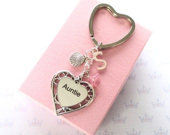 Auntie gift - Personalised Auntie keyring - Auntie Birthday  - Shell keychain - Initial keyring - Gift for Auntie - Shell keyring - UK