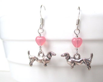 Dachshund earrings - Dog earrings - Kitsch pink heart earrings - Love Dachshund earrings - Doxie earrings - Stocking filler - UK