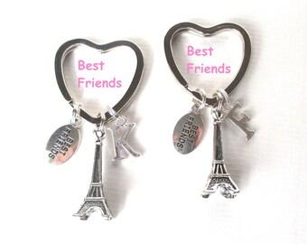 Best friends gift - Best friends Eiffel Tower keychain set - Initial keyrings - Personalised best friends keyrings - Love Paris - Etsy UK