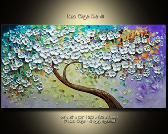 LARGE ORIGINAL ABSTRACT Blossom Tree Painting Modern Textured Palette Knife by Lana Guise