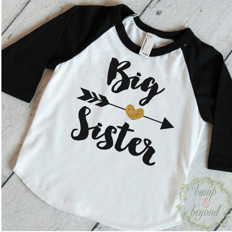 Big sister shirt baby announcement shirt by for Big sister birth announcement shirts