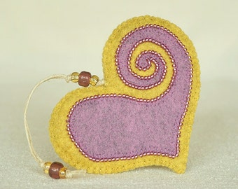 Beaded Lilac & Yellow Felt Heart Ornament #4, Mother's Day Heart, Wedding Favor, Proposal Idea, Anniversary Gift *Ready to ship