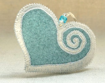 Beaded Mint Blue and White Wool Felt Heart Ornament #2, Mother's Day Heart, Wedding Favor, Proposal Idea, Anniversary Gift *Ready to ship