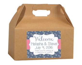 Gable Box Labels, Anchor Design, Elegant Wedding Labels, Custom Wedding, Favor Box Stickers