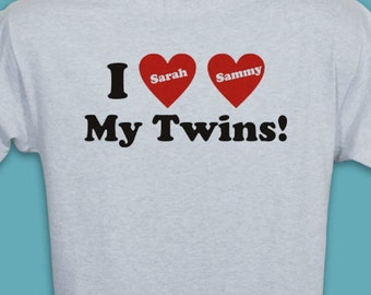 Personalized I Love My Twins T-Shirt