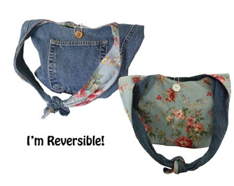 Denim Hobo Purse / Boho Bag / Shoulder Bag /  Slouch Bag / Upcycled from Jeans - Reversible Blue with Flowers