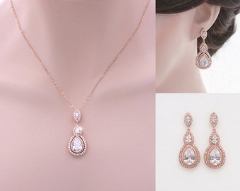 Gracen - Rose Gold Wedding Jewelry SET,  Bridal Necklace + Earrings, Bridal Jewelry Set, Swarovski, Cubic Zirconia, Bridesmaid Jewelry