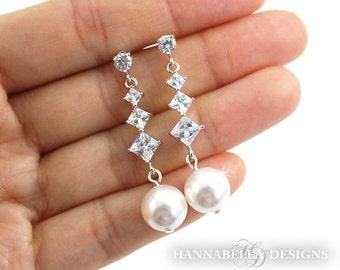 Willa - Pearl Wedding Earrings, Bridal CZ Earrings, Long Crystal Earrings, Wedding Jewelry, Cubic Zirconia, Bridesmaids Earrings