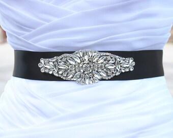 Oriana - Crystal Bridal Sash, Pearl Bridal Belts, Rose Gold Rhinestone Bridal Belt, Wedding Beaded Sashes, Rhinestone Applique'
