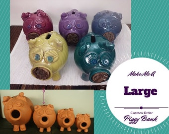 Large custom handmade piggy bank, piggy bank for girls, piggy bank for boys, pottery piggy ban, ceramic piggy bank girls piggy bank for kids