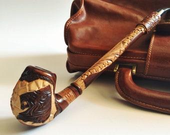 LION Pipe Smoking bowl. Wooden pipe. Wood Tobacco Smoking Pipe. Long tobacco bowl & Two smoking bowl Wooden pipe Long tobacco smoking pipe Wood