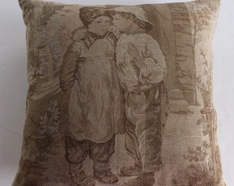 Vintage Tapestry Throw Pillow Cover-Children-Handmade- 20 x 20-March Trends -Spring Finds -For The Home- Antique -Velvet Backing- Gift Guide