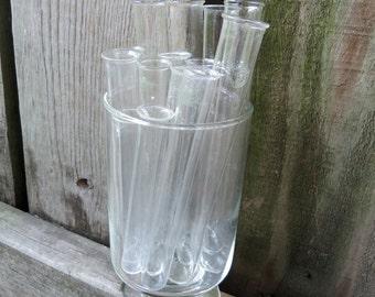 """Set of 14- Vintage Chemistry Glass Test Tubes Flasks-  5- 5 3/4"""" , 7- 4 3/4"""", 2-3 3/4"""""""