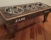 Reclaimed pallet dog bowl stand - rustic beachy style pet feeding station - naturally weathered decorative pet feeding stand - custom sizes