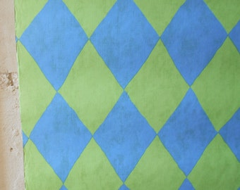 """Mid century wallpaper, one full roll wallcovering, blue and green diamond shaped pattern, """"Summer Breeze, Simply the Best"""" label."""