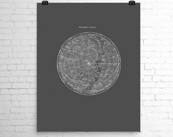 Star Map Print Constellations Northern Hemisphere Poster