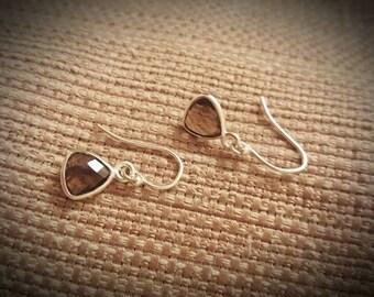 Sterling Silver Bezel Teardrop Smokey Quartz Earrings Set, Teardrop Earrings, Gift for her, Anniversary Gift, Outlander Earrings Set