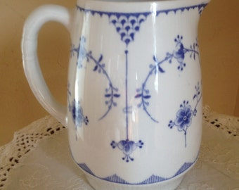 Vintage Furnivals Denmark Water Pitcher Blue and White- Staffordshire England